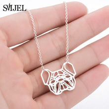 SMJEL 2018 New French Bulldog Necklaces Cute Origami Puppy Dog Necklace Animal Mom Jewelry Women Clothing Accessories