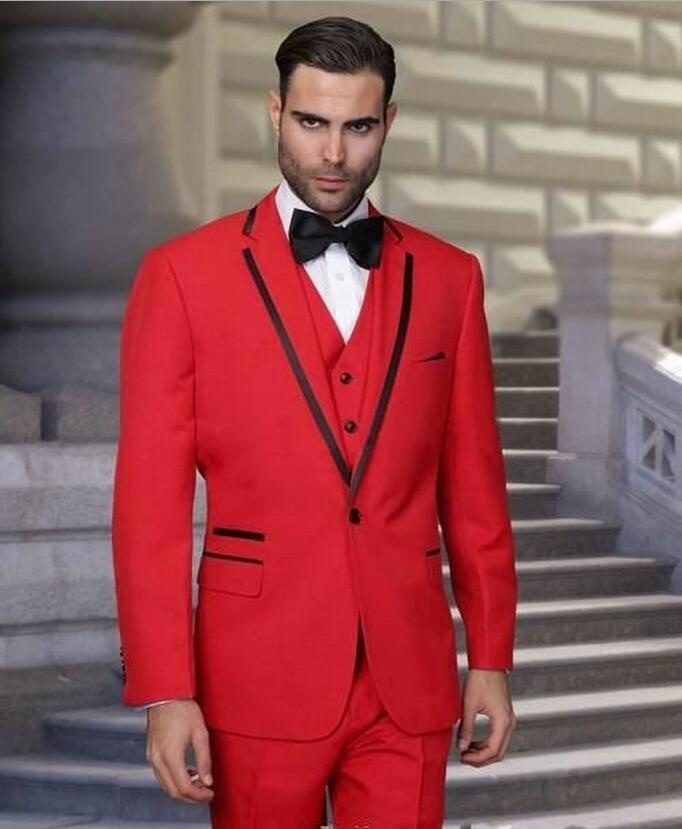 New Custom Red Wedding Groom Business Man suit Evening Party Prom ...