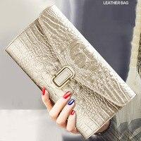 Genuine Leather Handbags European And American Style Crocodile Pattern Lock Ladies Single Shoulder Diagonal Large Capacity