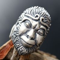 925 silver The Monkey King tiger finger ring of silver Male width opening 925 sterling silver ring