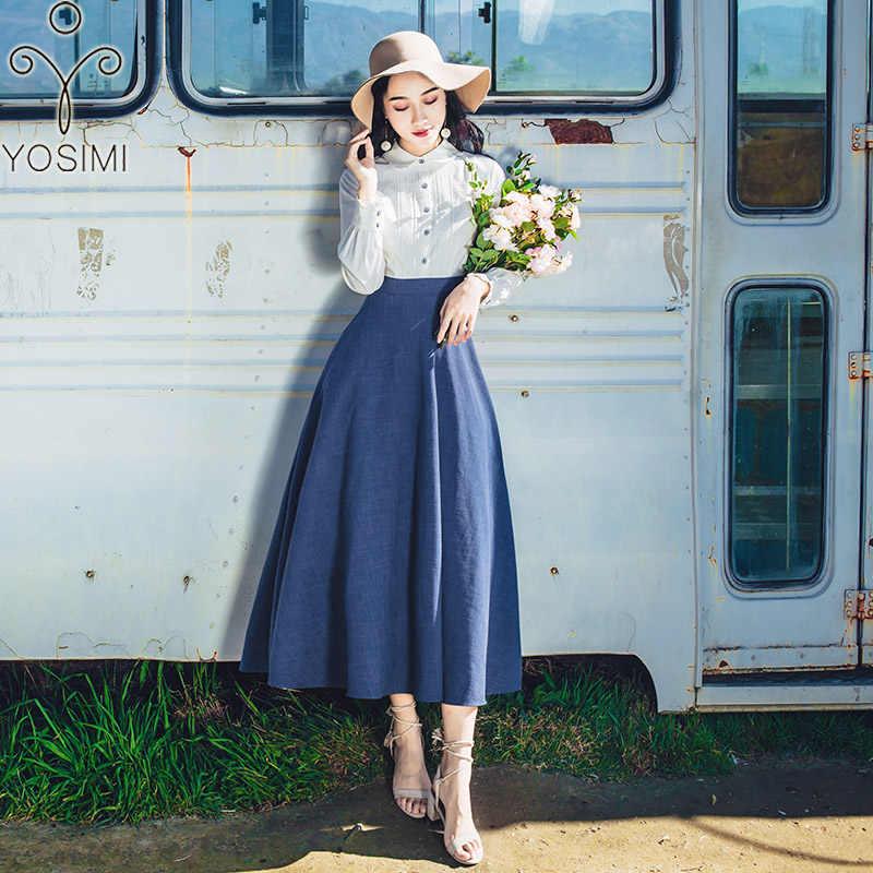 YOSIMI 2019 Dài Mùa Xuân Nữ Full Nữ Tay Nữ Vestidos Thu Bông Vintage Giả 2 Bộ Đồ Màu Xanh đầm Ôm