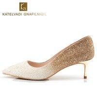 Brand Shoes Women Luxury 5.5CM High Heels Wedding Bridal Shoes Woman High Heels Bling Shoes Medium Heels Ladies Stilettos K 045