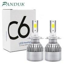 Panduk 2 шт. светодиодный головной светильник H1/H3/H4/H7/H13/H27/9005/9006 высокомощный комплект 12V 72W фары для 7600LM COB 6000K авто светильник Светодиодный лампа C6