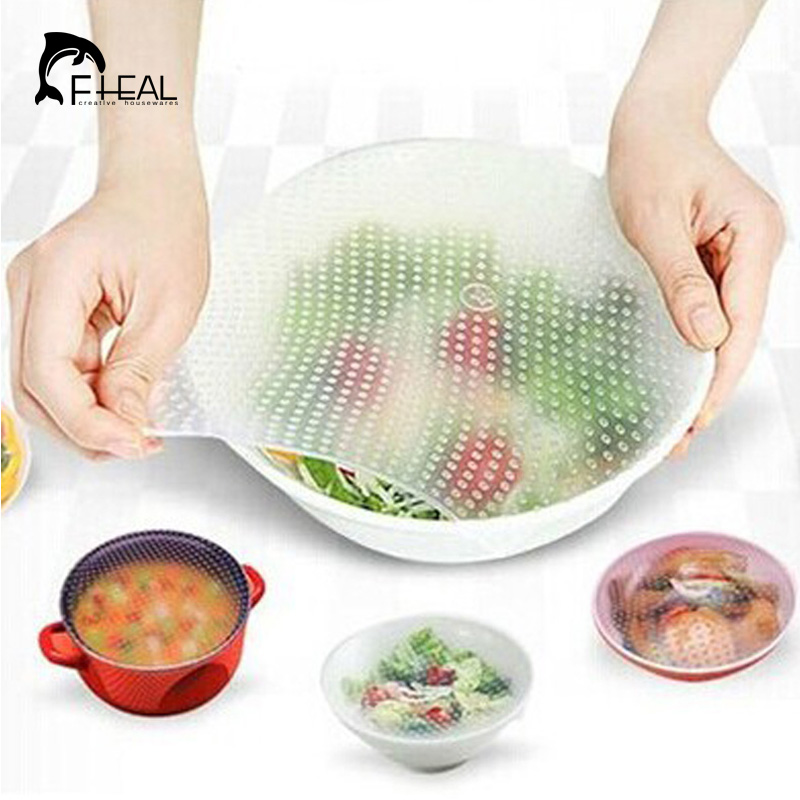 FHEAL 3pcs Silicone Wraps Seal Cover Stretch Cling Film Food Fresh Keep Kitchen Tools