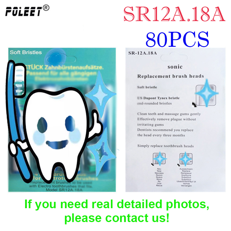 Poleet 80Pcs 20Packs Electric Toothbrush Replacement Head SR12A 18A For Oral Bi Toothbrush heads SR12A18A Hygiene
