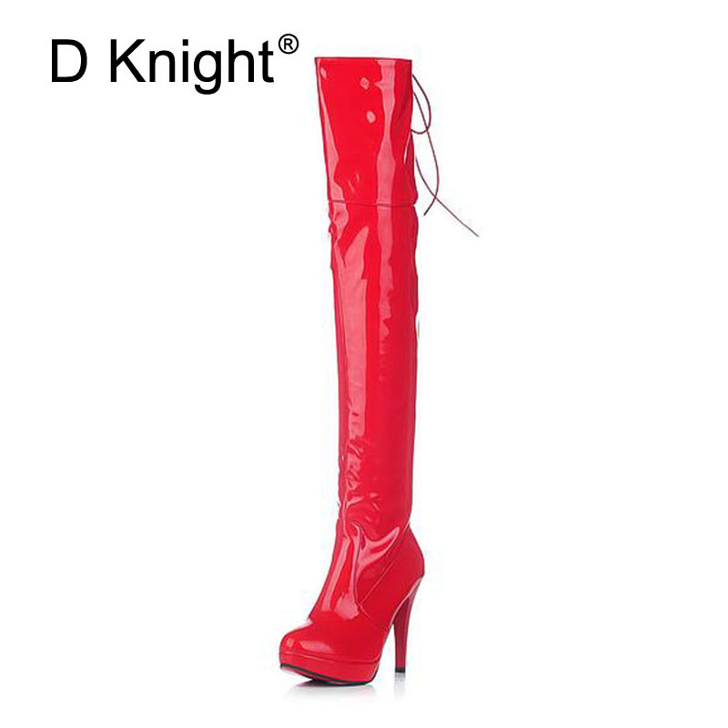 Sexy Patent Leather Thin Heels Women Over The Knee Boots Ladies Platform High Heels Pole Dancing Boots Women Thigh High Boots plus size patent leather over the knee boots for women black women winter boots sexy high heels long boots ladies platform shoes