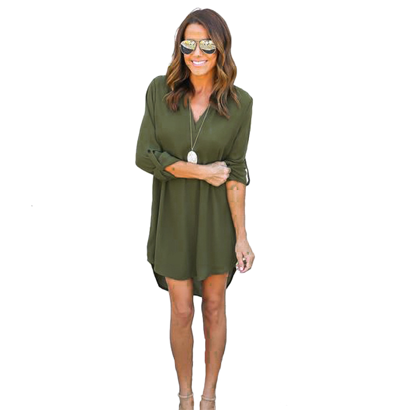 LASPERAL Army Green Deep V Sexy Chiffon Dress Women Long Sleeve Irregular Summer Dress 5XL Plus Szie Solid Casual Vestidos 2017