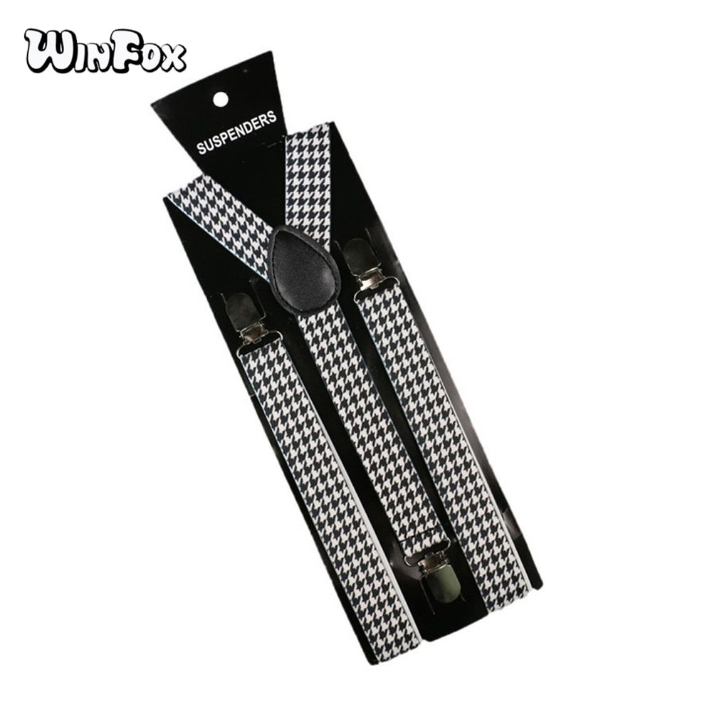 Winfox 2.5cm Wide Vintage Male Suspenders Men White Black Houndstooth Women Braces Suspensorio