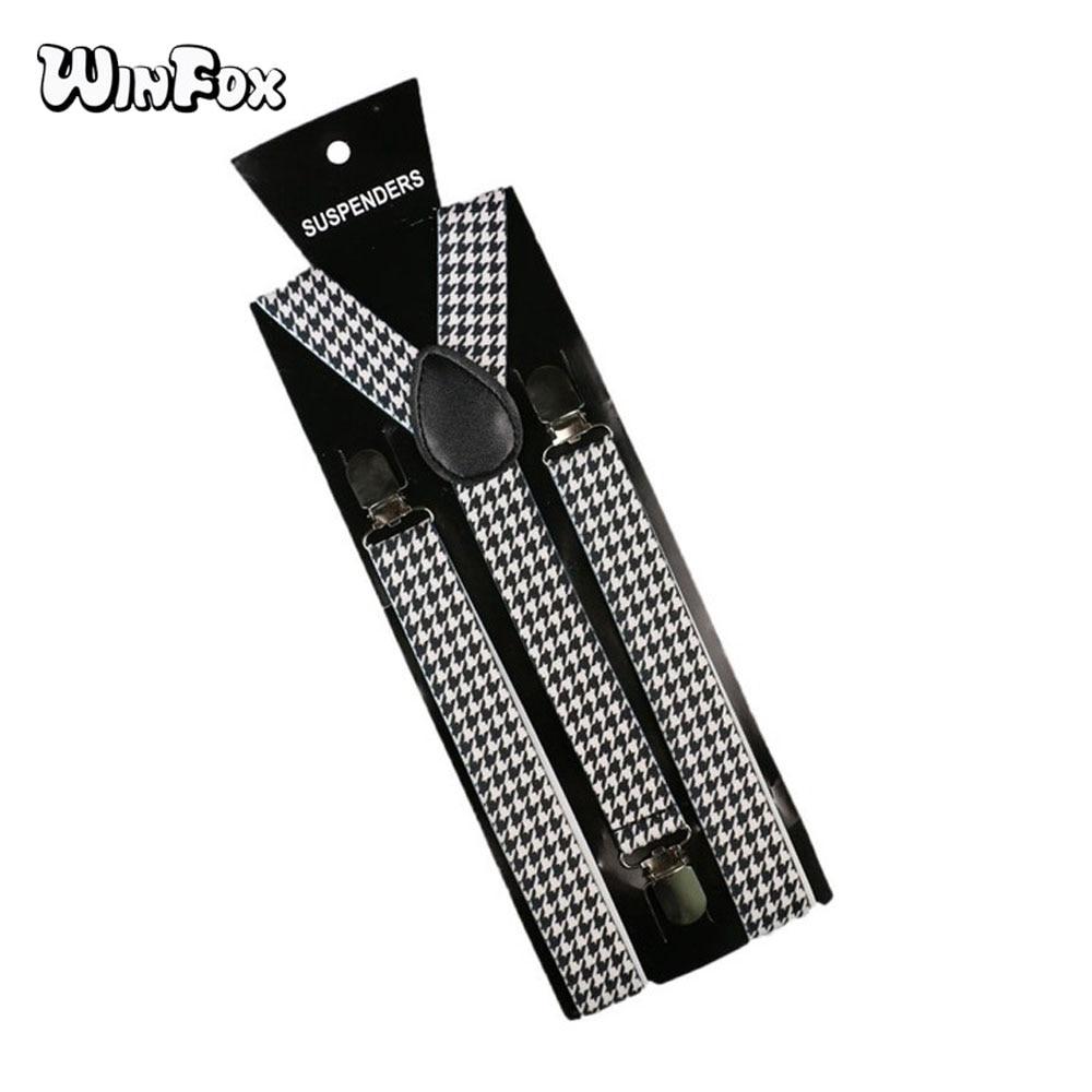 Winfox 2.5cm Wide Vintage Male Suspenders Men White Black Houndstooth Women Braces Suspensorio