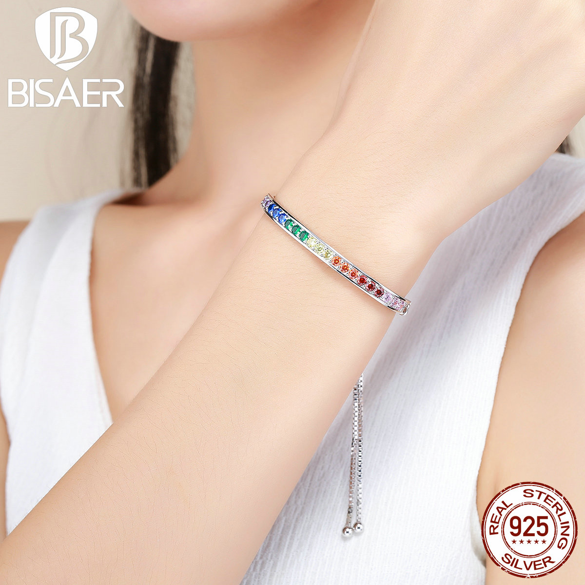 Christmas Silver Plated Colorful CZ, Beautiful Life Strand Bracelets for Women Girl Original Authentic Jewelry Gift WEYB036