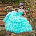 2016 Princesa Doce 16 Vestidos de Baile de Cristal Azul Do Aqua Quinceanera Vestido de Debutante Quinceanera Vestidos Com Alças de Contas Abiti