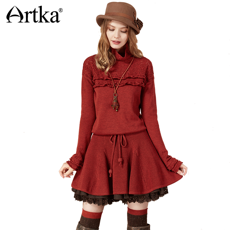 Artka Autumn Sweater Dress For Women 2018 Wool Pullover Long Lace Sweater Female Korean Ruffle Sweater Knitted Pullover LB10275Q giraffe flat knitted pullover sweater