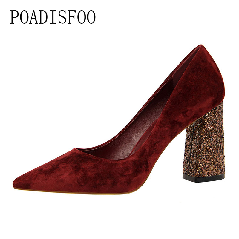 цена на POADISFOO high heels shoes sequins thick with high-heeled suede shallow mouth pointed thin sexy nightclub shoes .DS-828-28
