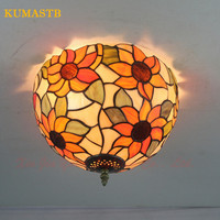 European Tiffany Sunflowers Ceiling Light Stained Glass Lamp Living Room Bedroom Bathroom Sunflower Ceiling Lamps Dia30cm