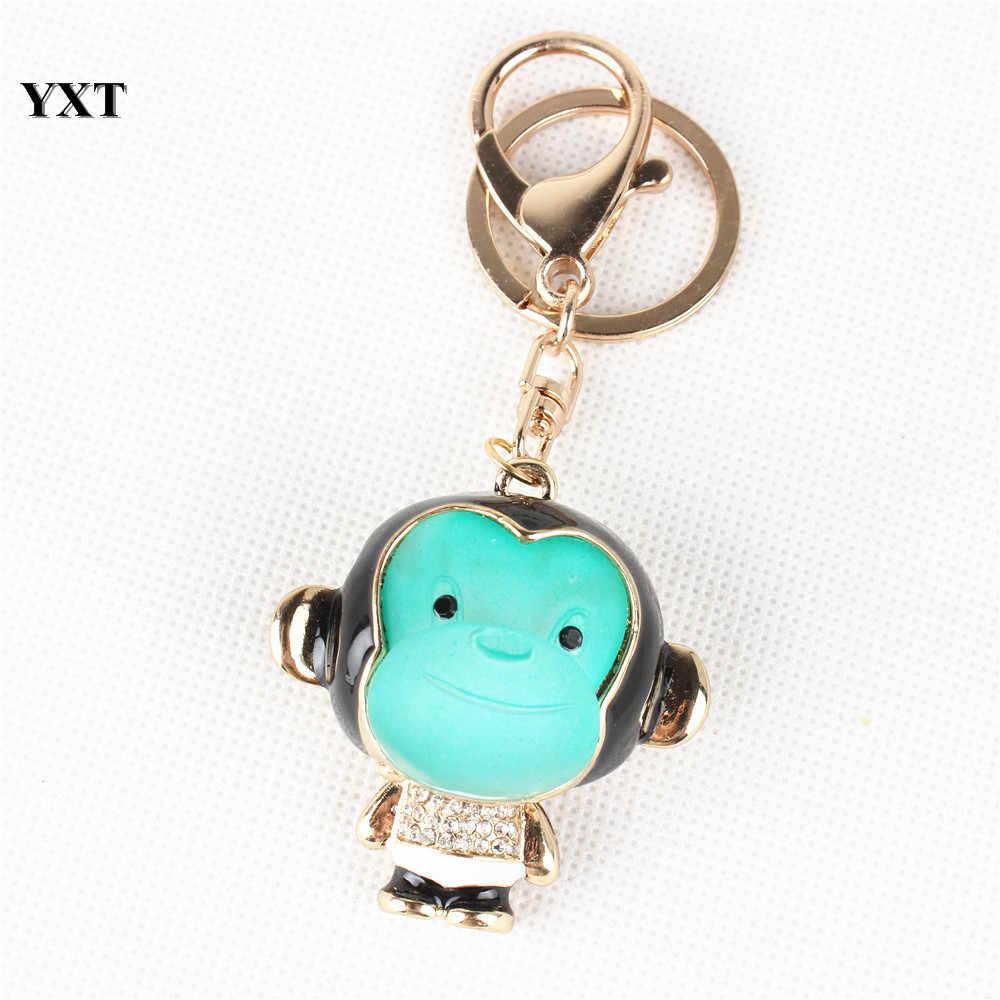 יפה קוף קסם תליון קריסטל ריינסטון ארנק תיק מפתח טבעת שרשרת Creative יום הולדת אהוב מתנת אביזרים