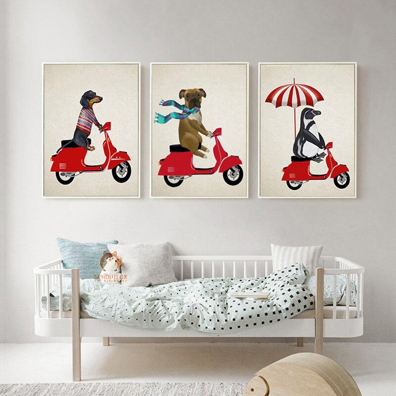 Dog Ride Motosiklet Cizgi filmi Heyvan kətanları Çap Rəsm - Ev dekoru - Fotoqrafiya 1