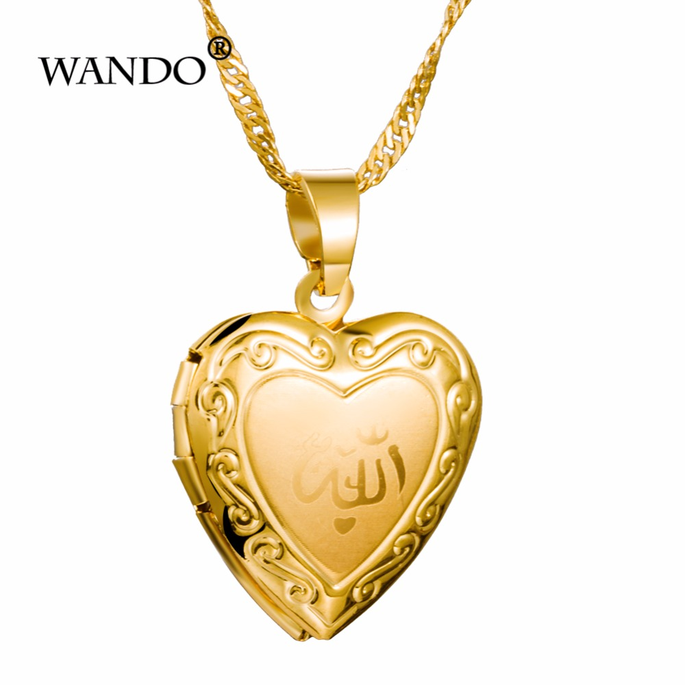 WANDO Photo Frame Memory Locket Pendant Necklace Silver/Gold Color Romantic india Heart Vintage Rose Flower Jewelry Women Gift 3 locket