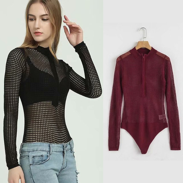 c982a3aef2e Fashion Bodysuit women 2018 long sleeve Knitted mesh bodysuits Sexy Skinny  Solid Hollow Out black Slim Fit Romper Jumpsuit Tops