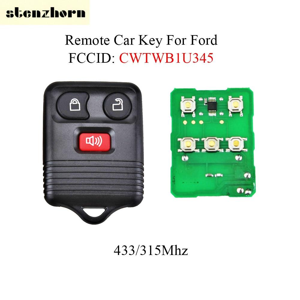 Stenzhorn 2Pcs*Remote Control Key 3Button For Ford 2001 2002 2003 2004 2005 2006 2007 Escape F150 Explorer 433/315Mhz CWTWB1U345