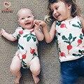 KAMIMI новые ребенка комбинезон для 7-18 М хлопок летом редис печатные детские мальчики девочки моды комбинезон детская одежда A370