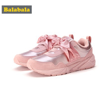 Balabala Girls PU Leather Suede Fleece-Lined Sneakers with Decorative Velvet Bow-tie Teenage Girls Casual Sneakers(China)