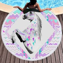 New Fashion Large 3D Animal Tassel Tapestry Unicorn Round Beach Towel Horse Microfiber Fabric Blanket Mat 150cm(China)