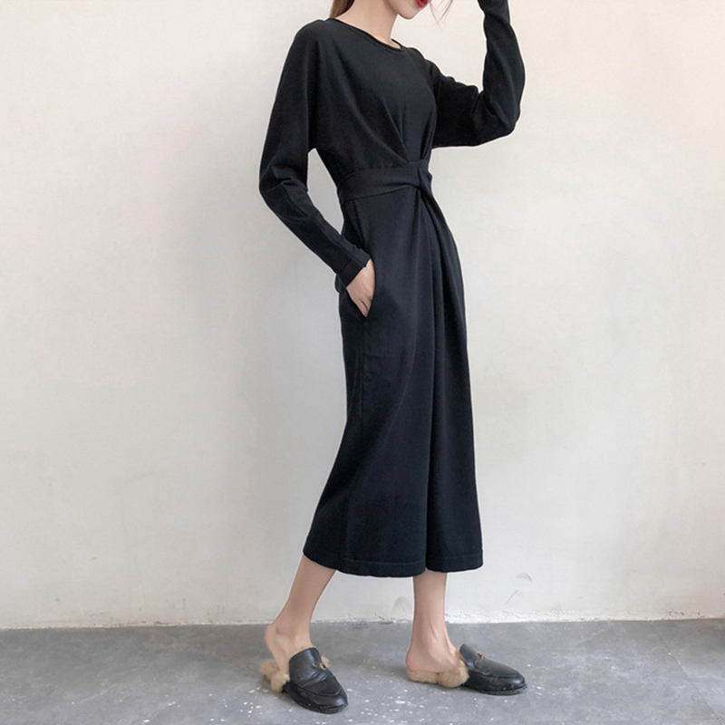 Women's Long Sleeve Split Knitted A-line Midi Dress High Waist Bowtie Bandage Lace Up Female Dresses 2019 Spring O-Neck Clothes 3