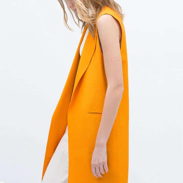 f8ce1298359cb placeholder Women Long Vest Waistcoat Simple Design Orange Sleeveless  Jacket Coat Casual Outerwear Cardigans Vest Female Plus