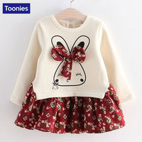 Hot Sale Cute Rabbit And Flowers Printed Girls Long Sleeve Dress 2016 Winter Autumn Baby Girl
