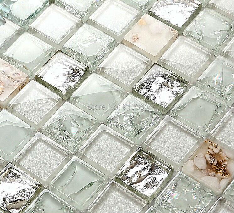Crystal Glass Mosaic Floor Kitchen Back Splash Resin Shell