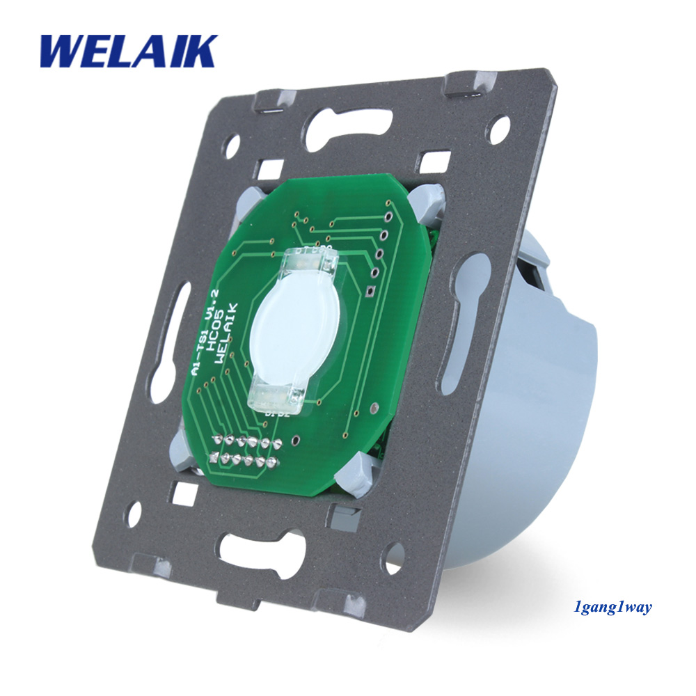 цена WELAIK Switch White Wall Switch EU Touch Switch DIY Parts Screen Wall Light Switch 1gang1way AC110~250V A911