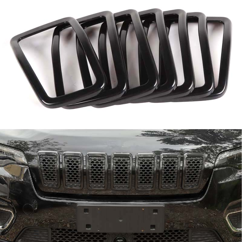 YAQUICKA ABS 7Pcs Black Exterior Car Styling Front Center Grill Trim For Jeep Cherokee 2019 Car