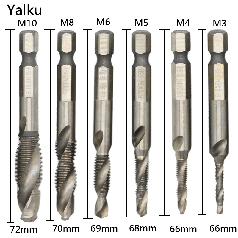 Yalku Drill Bit Set Power Tool 1/4'' Hex HSS HSS Thread Spiral Screw M3-M10 Metric Composite Tap Drill Bit Tap 6pc Drill Bit 6pcs set m3 m10 metric composite tap drill bit thread spiral screw tap 1 4 hex hss drill bit