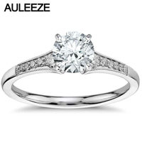 Graduated Milgrain Style Lab Grown Diamond Engagement Ring Gorgeous Solid 14k White Gold 1CT Moissanites Wedding Ring For Women