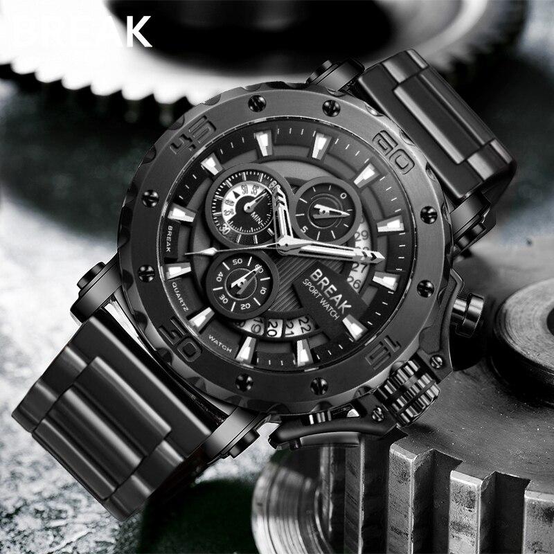 BREAK Men Quartz Watches Top Luxury Brand Stainless Steel Band Casual Fashion Chronograph Luminous Business Sport