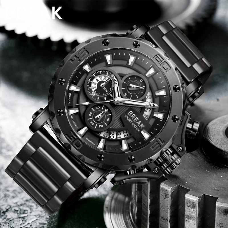 BREAK Men Quartz Watches Top Luxury Brand Stainless Steel Band Casual Fashion Chronograph Luminous Business Sport Military Watch|Quartz Watches| |  - title=