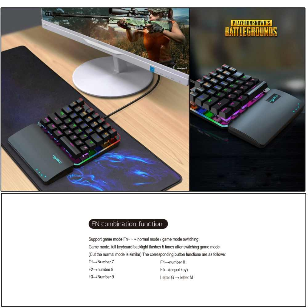 HXSJ one-handed keyboard left hand keyboard 35-key RGB multiple backlight  mode suitable for professional players