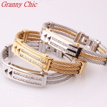 Granny Chic Silver Gold Color Wire Cable Bangle Men's Crystal CZ Bracelets Bangles Fashion Stainless Steel Men Women's Jewelry