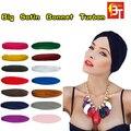 12 unids/lote India musulmana sombrero elástico India mujer turbante Bandanas grandes satén capó moda para mujer Skullies gorros Color de la mezcla
