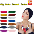12pcs/lot India Muslim Hat Elastic India Woman Turban Bandanas Big Satin Bonnet Female Fashion Skullies Beanies Mix Color