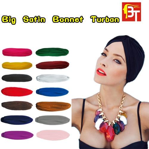 12pcs/lot India Muslim Hat Elastic India Woman Turban Bandanas Big Satin Bonnet Female Fashion   Skullies     Beanies   Mix Color