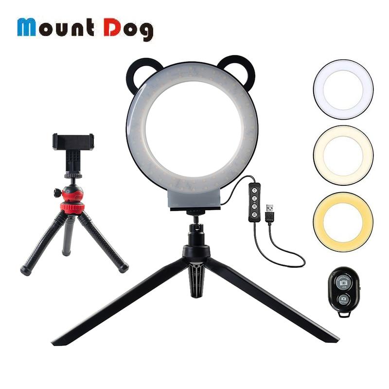 6 polegada Fotografia lâmpada Anel LEVOU Anel Selfie Luz de Vídeo Do Youtube Ao Vivo 3200-5500 k Luz Da Câmera Com Telefone suporte USB Plug Tripé