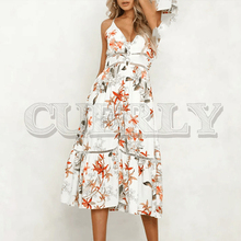 CUERLY Sexy v neck women dress Spaghetti strap vintage dress floral print summer dress Ruffle lace hem midi dress vestidos