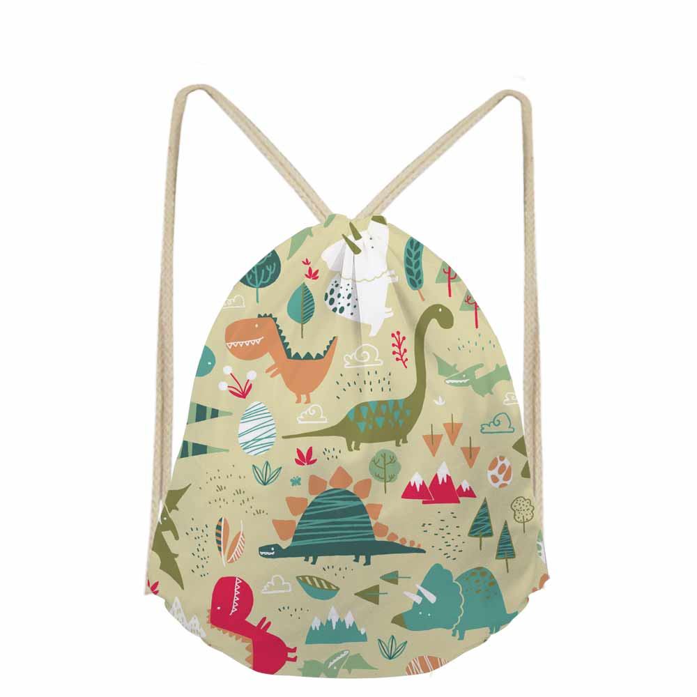 Fashion Dinosaur & Dragon Jurassic Century Printed Women Backpack Daily Pack Small School Bags For Kids Boys Drawstring Bag
