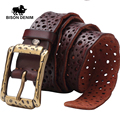BISON DENIM 2017 Nuevos cinturones de diseño hombres Cinturón Dots hollow out Vintage para hombre cinturones de Cuero Genuino cinturones hombre W71025