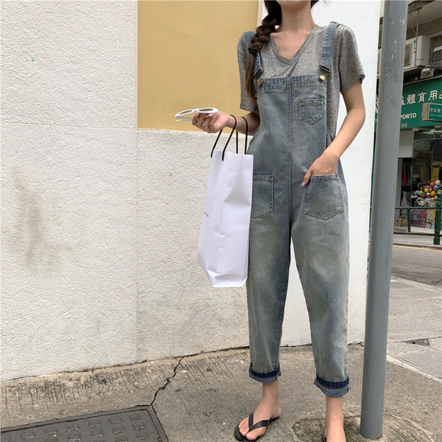ce4919484803 S-L Jeans Women Jumpsuit Denim Romper Overalls korean style Long Trousers  cute Denim Pants Rompers womens