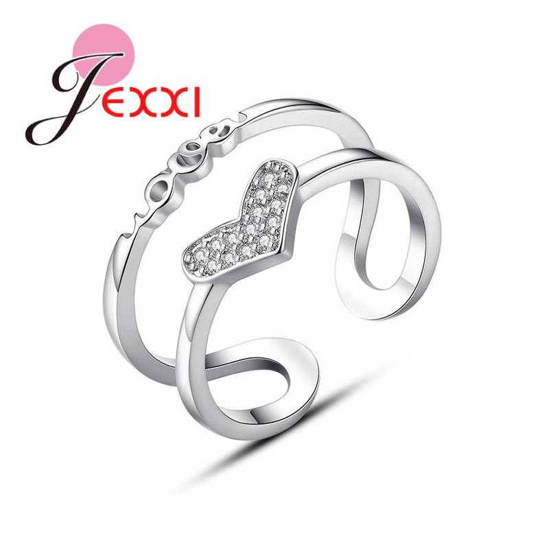 JEXXI Heart Shape Open Adjustable Rings 925 Sterling Silver Clear Cubic Zircon Women Wedding Anniversary Engagement Accessaries