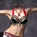 Новый 2016 Vintage ОВД Племенной Танец Живота Бюстгальтер Топы Металлик шпильки Push Up BeadsBra B/C КУБОК Монеты Топ Цыганский Танец бюстгальтер