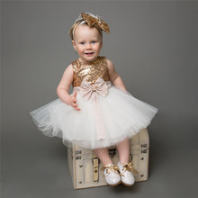 2018 New Kids Girls Flower Dress Baby Girl Butterfly Dresses Gold Sequins Children Fancy Princess Ball Gown Wedding Clothes