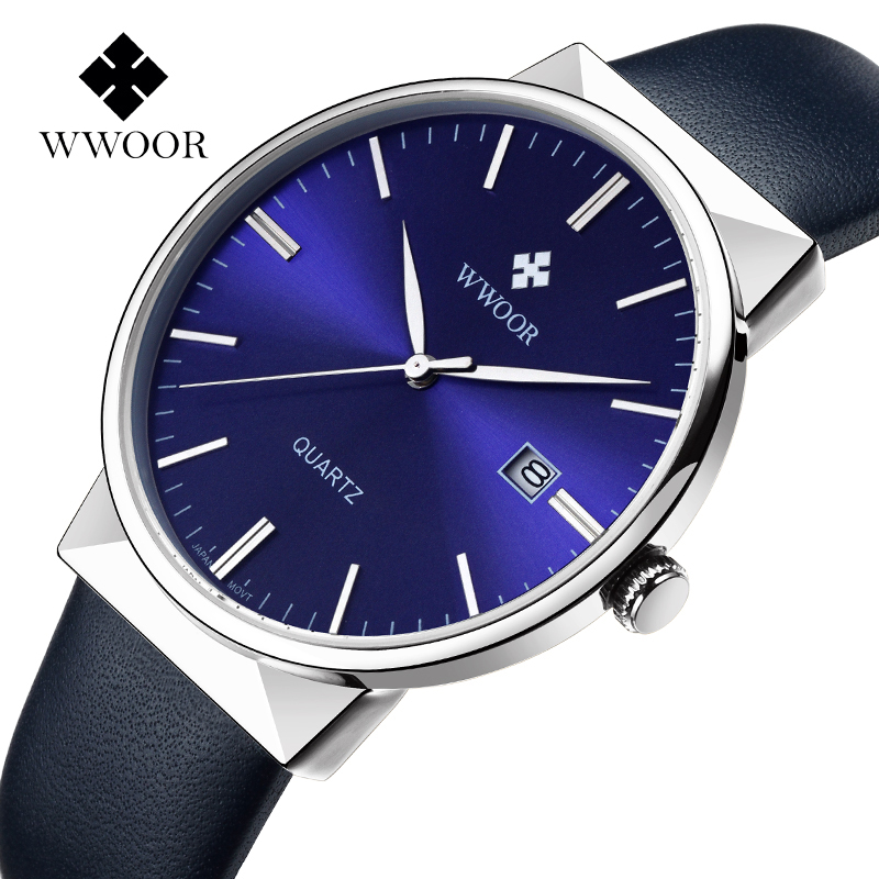 Fashion Simple Stylish Luxury brand WWOOR Watches Men belt Strap Thin Dial Clock Man Casual Quartz-watch Black relogio masculino fashion simple stylish luxury brand crrju watches men stainless steel mesh strap thin dial clock man casual quartz watch black